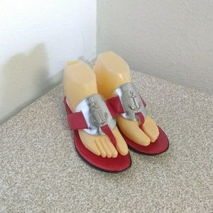 Rodo Italy Red Silver Leather Nautical Sandals